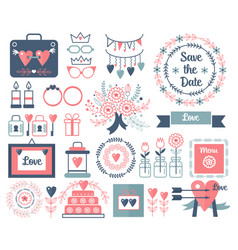 rustic hand drawing wedding elements set vector image vector image
