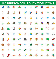 100 preschool education icons set cartoon style vector