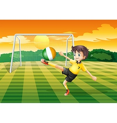 A girl at the field using the ball with the flag vector