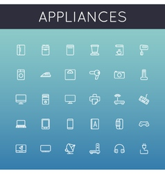Appliances Line Icons vector image
