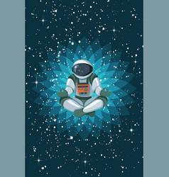 Astronaut sitting in lotus position meditating vector