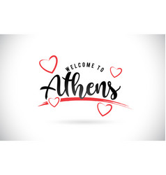 athens welcome to word text with handwritten font vector image