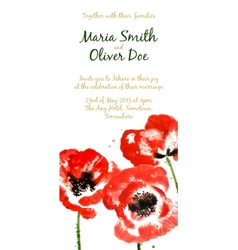 background with red watercolor poppies vector image