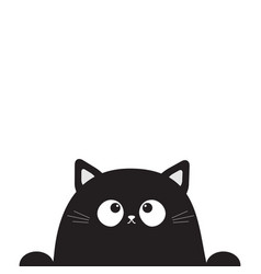 Black cute sitting cat kitten face head looking up vector