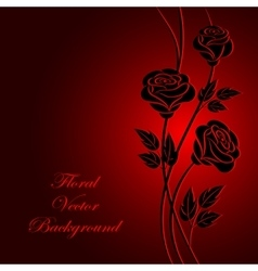 Black flowers on red background vector image