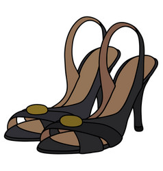 Black tape shoes on high heel vector