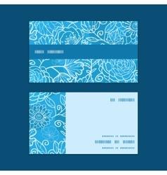 Blue field floral texture horizontal stripe frame vector