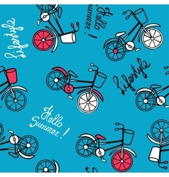 Blue pattern with bicycles vector image