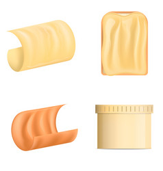 Butter curl block icons set realistic style vector