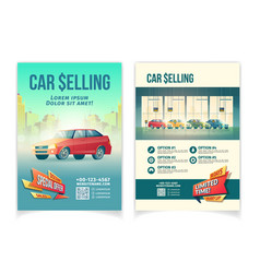 car selling ad flyer cartoon template vector image