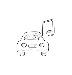 Car with music note sketch icon vector image