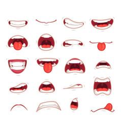 cartoon mouths facial expression surprised mouth vector image