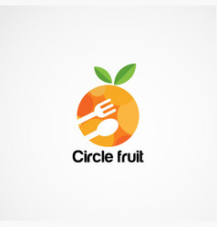 Circle food logo designs with spoon and fork icon vector