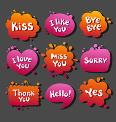 collection various balloons with message phrases vector image