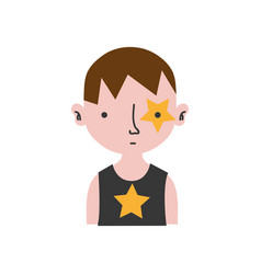 Colorful boy rocker with star tattoo and hairstyle vector