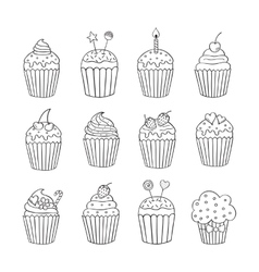 Cupcake set isolated vector