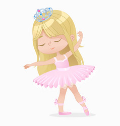 Cute small brown hair girl ballerina dance vector