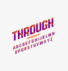 Cutted through font in retro style vector