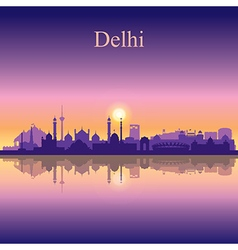 Delhi silhouette on sunset background vector image