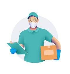 Delivery men or courier in protective medical vector