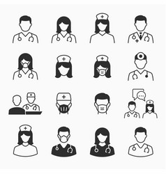 Doctor and nurse icons set vector