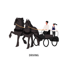 driving horse carriage flat vector image