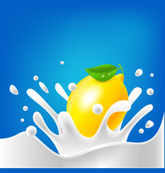 drops milk lemon splash dairy cream vector image
