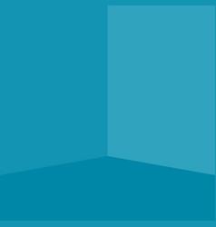 Empty light blue corner room vector