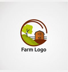 farm logo with house and tree modern concept icon vector image