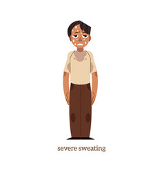 Flat man with severe sweating vector