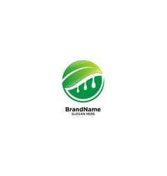 Fresh fruit logo with leaf vector