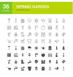 garden line web glyph icons vector image