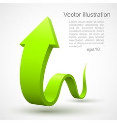 Green wavy arrow 3D vector image