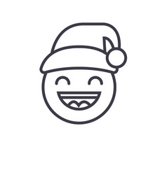 happy new year emoji concept line editable vector image