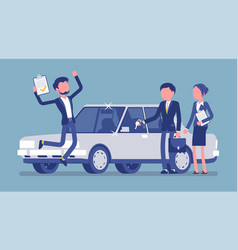 happy young got car loan approved vector image