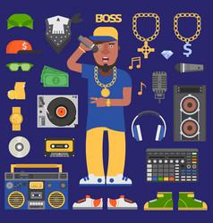 hip hop raper man musician icons vector image