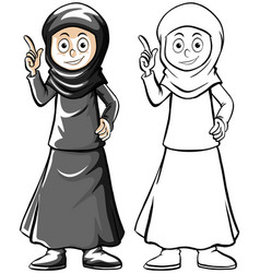 Human character outline for muslim woman vector