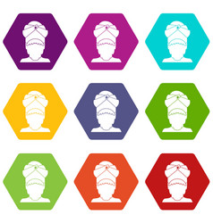 indian man icon set color hexahedron vector image