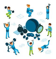 isometric sport or fitness concept male vector image