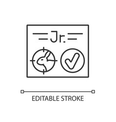Junior hunting license linear icon vector