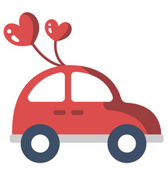 Just married car flat vector