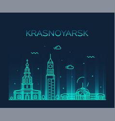 krasnoyarsk skyline krai russia line style vector image