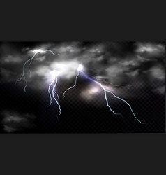 lightning strikes and thundercloud impact place vector image