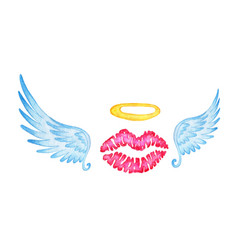 Lips and wings colorful watercolor isolated vector
