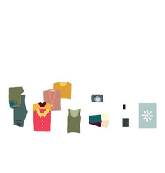 Luggage clothes flatlay top view vector
