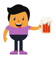 Man holding beer on white background vector
