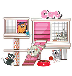 Many cats in cage vector