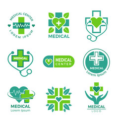 medical logotypes medicine pharmacy clinic or vector image