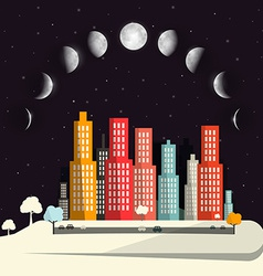 Moon Phases above Night City Flat Design Abstract vector