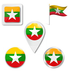 Myanmar flag symbol vector